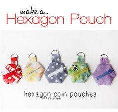 These Hexagon Pouches are so cute! Fun tutorial #sewing #tutorial
