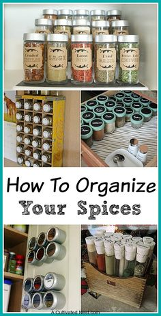 Lots of great ideas for Spice cupboard organization.