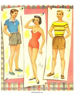 Originally published in the 1950s by the Saalfield Publishing Company, this mini paper doll book contains 4 dolls (2 girls and 2 boys) with 4 pages of their clothes. Description from pdfclassicbooks.com. I searched for this on bing.com/images