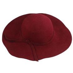 Chapéu de feltro bordô aba grande