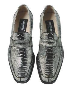 Men's Mauri Cambridge Black Genuine Ostrich Leg Leather Slip On Dress Shoes | Megasuits.com
