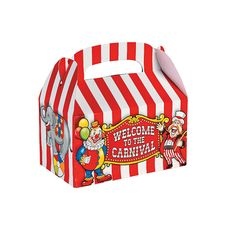 Big Top Treat Boxes - OrientalTrading.com -- Can I have a carnival party theme?