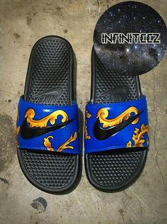 Items similar to Nike Custom Galaxy Benassi Swoosh Slide Sandals Flip flops NWT on Etsy Ankle Sneakers, Slip On Sneakers, Leather Sneakers, Nike Slides Mens, Beach Slide, Nike Flip Flops, Nike Slippers, Nike Sandals, Mens Designer Shoes