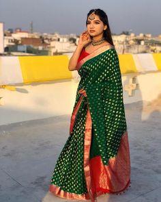 Indian Bridal Outfits, Indian Designer Outfits, Dress Indian Style, Indian Dresses, Banarasi Sarees, Lehenga, Silk Sarees, Wedding Saree Collection, Saree Trends