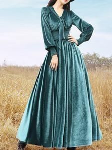 Long Sleeve Dress Casual Velvet Solid Dresses for Women Vintage Dresses Online, Vintage Outfits, Vintage Clothing, Dress Up Outfits, Casual Dresses, Plus Size Clothing Online, Long Sleeve Cotton Dress, Checkered Skirt, Velvet Fashion