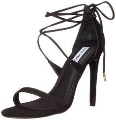 Steve Madden Women's Presidnt Dress Sandal, Black Suede, 10 M US