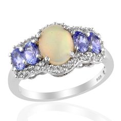Liquidation Channel - Affordable Ethiopian Welo Opal (Ovl 1.25 Ct), Tanzanite, White Zircon Ring in Platinum Overlay Sterling Silver Nickel Free (Size 9) TGW 2.43 cts.