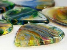 Silica Sound Glass Guitar Picks Two Color Closeup