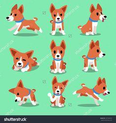 Cartoon Character Basenji Dog Poses Banco de ilustração vetorial 397944076 : Shutterstock