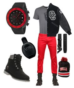 """""""Untitled #26"""" by aromance101 ❤ liked on Polyvore featuring John Varvatos * U.S.A., Diesel, Emporio Armani, Opening Ceremony, The Snapback Cap Co., Calvin Klein, red line and Timberland"""