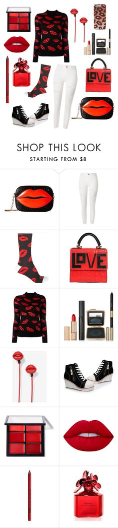 """""""Lip Lip"""" by howdyingboo ❤ liked on Polyvore featuring Charlotte Olympia, River Island, Arthur George, Les Petits Joueurs, Yves Saint Laurent, Estée Lauder, Lime Crime, NYX and Marc Jacobs"""