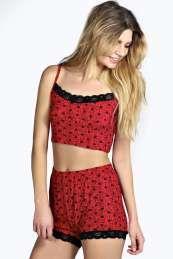 Suzie Sketchy Heart Crop Vest and Short Set