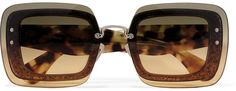 Miu Miu - Square-frame Glittered Acetate Sunglasses - Tortoiseshell