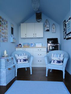 ~ baby blue by the beach ~ Garden Shed Interiors, Summer House Interiors, Garden Sheds, She Shed Decorating Ideas, Beach Hut Interior, Beach Hut Decor, Craft Shed, Tiny Spaces, Coastal Living