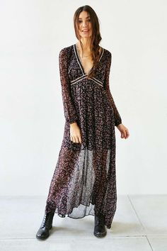 Ecote Henna Floral Maxi Dress - Urban Outfitters