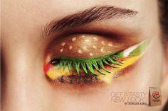 Een advertentie van de Nederlandse (!) Burger King: een bijzonder aangebrachte oogschaduw waardoor het model een Whoppertje op haar oogleden heeft. Een goed voorbeeld van een tasty new look….