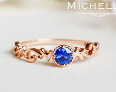 Natural Blue Sapphire Engagement Ring Set by MichelliaDesigns