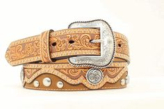 Men's Belt | Tan Tooled Leather with Silver Studs Tooled Leather, Leather Belts, Leather Tooling, Men's Belts, Studs, Outfit, Silver, Accessories, Fashion