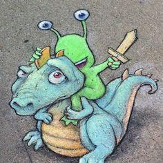 ON A DRAGON..!!!    (Artwork by David Zinn)