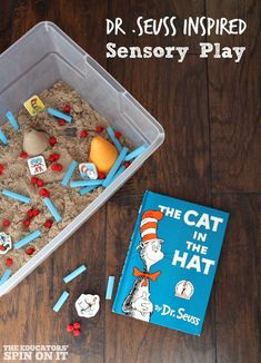 You just need a few supplies to magically transport your child into the colorful imaginary world of Dr. Seuss with this Dr. Seuss Sensory Play Idea.