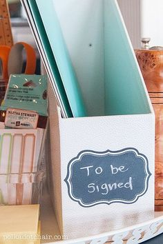 Back to School Tips and Tricks- Create a homework work station on the kitchen table for the kids... easy to move out of the way when you don't need it
