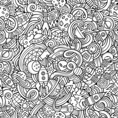 Cartoon hand-drawn doodles on the subject of space pattern stock vector art 78641719 - iStock
