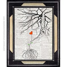 NEW BEGINNING original mixed media on upcycled book page dictionary art print love tree red heart illustration 8x10, 5x7