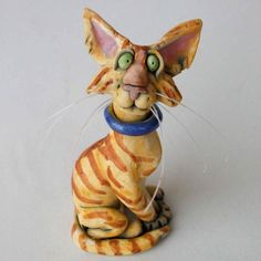 Curious Orange Tabby Cat Whimsical Ceramic by RudkinStudio on Etsy