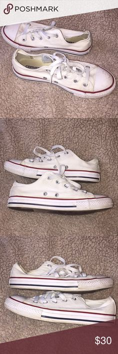Classic White Converse All Stars! • Used Condition • These have been worn and loved but other than needing a cleaning they are in great condition! No rips or anything like that. • These are size 2 youth which is like a 5/6 women's. Converse Shoes Sneakers