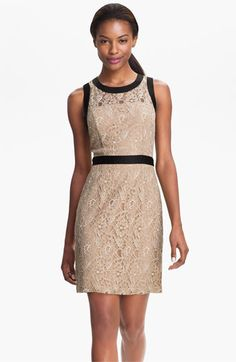 Max & Cleo Satin Trim Lace Sheath Dress available at #Nordstrom, maybe different colored dresses for each maid