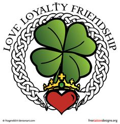 77 Irish tattoos to celebrate your appreciation for Irish and Celtic heritage: shamrock, clover, Irish cross, claddagh tattoo designs and more. Shamrock Tattoos, Clover Tattoos, Horse Tattoo Design, Tattoo Designs, Tattoo Ideas, Irish Claddagh Tattoo, Claddaugh Tattoo, Loyalty Tattoo, Time Tattoos