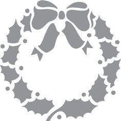 Glass etching stencil of Christmas Wreath. In category: Christmas, Plants