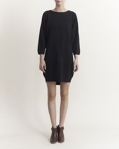 Wood Wood: Lis Knitted Dress in solid black.