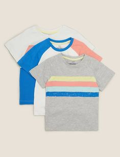 3pk Cotton Colour Block T-Shirts (2-7 Yrs) | M&S Spencer, Cami Set, Suit Shop, Brand Collection, Best Jeans, Color Blocking, Colour Block, 6 Years, Lounge Wear