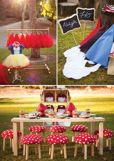 Snow White  the Seven Dwarfs in Woodland Party: Dress up station and toad stool seats