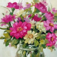 """Daily+Paintworks+-+""""Floral+Express""""+-+Original+Fine+Art+for+Sale+-+©+Libby+Anderson"""