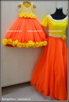# Mom and Me designs in Bangalore by Angalakruthi-Ladies  boutiques #Mom and Daughter design with pearl hand embroidery #Designer boutique with online order placement service