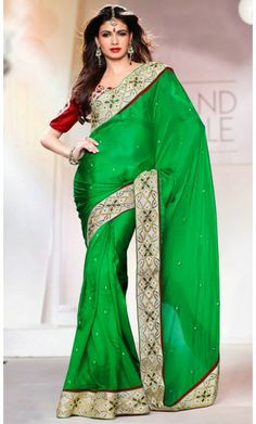 Fancy Green Embroidered Saree #SareesforWomen #BollywoodSarees