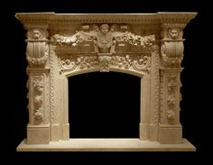 Classical design motifs abound on this magnificent fireplace by Carved Stone Creations. Hand-carved from natural stone, this Isis Gold Limestone fireplace features an incredible level of detail with hand carved Cherubs, Lion heads, flowers, garlands, and Acanthus leaf styling motifs. Includes hearth.  $12,000  Click the image to see it in our online store. #fireplace