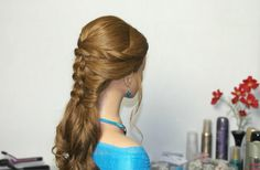 Easy prom hairstyle for long hair. Braided hairstyles.