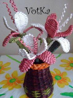плетение из газет цветы (1) (463x624, 605Kb)