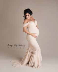 719878e7b2369 Stunning studio image and momma wearing our #samanthagown in #champagne.  Studio Maternity Shoot
