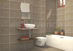 Diseño de baño con revestimiento cerámico en color gris para pavimento y paredes. #Reformas baños Bathtub, Bathroom, Design, Grey Colors, Apartment Bathroom Design, Home, Standing Bath, Washroom