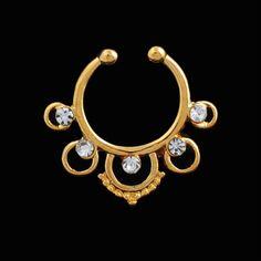Septum falso étnico en dorado con cristales