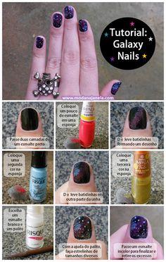 Moda Na Janela: Tutorial: Galaxy nails