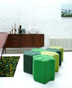 Leaf Seat Upholstered Pouf Design by Nicolette de Waart leaf seat upholstered wool pouf 3