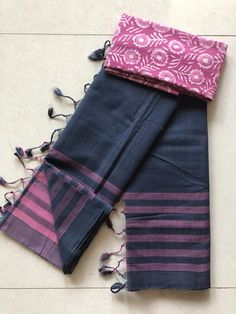 Mangalgiri handloom soft cotton saree comes with running blouse as well extra blouse as shown in the pic