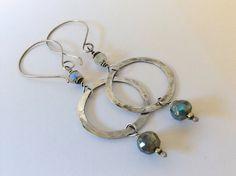 Labradorite & Rainbow Moonstone Sterling Silver Hoop Earrings
