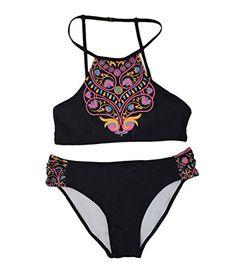 b0bbfdfe93c6d Cupshe Fashion Womens Black Floral Printing Tank Padding Bikini Set M     You can get