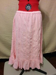 SALE! THIS WEEKEND ONLY! Pink Embroidered Skirt with Bottom Ruffle D & Co. Size Large 100% Cotton    eBay